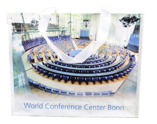 PP World Conference Center Bonn Motiv mit Einfassband das vollständig herum verläuft Taschen